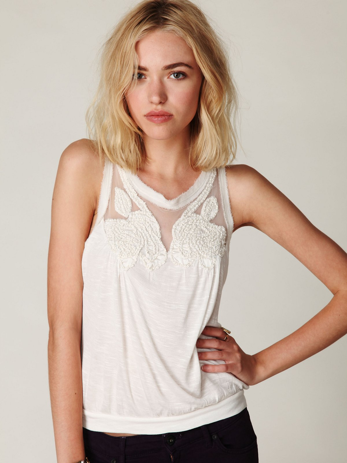 English Rose Applique Banded Top