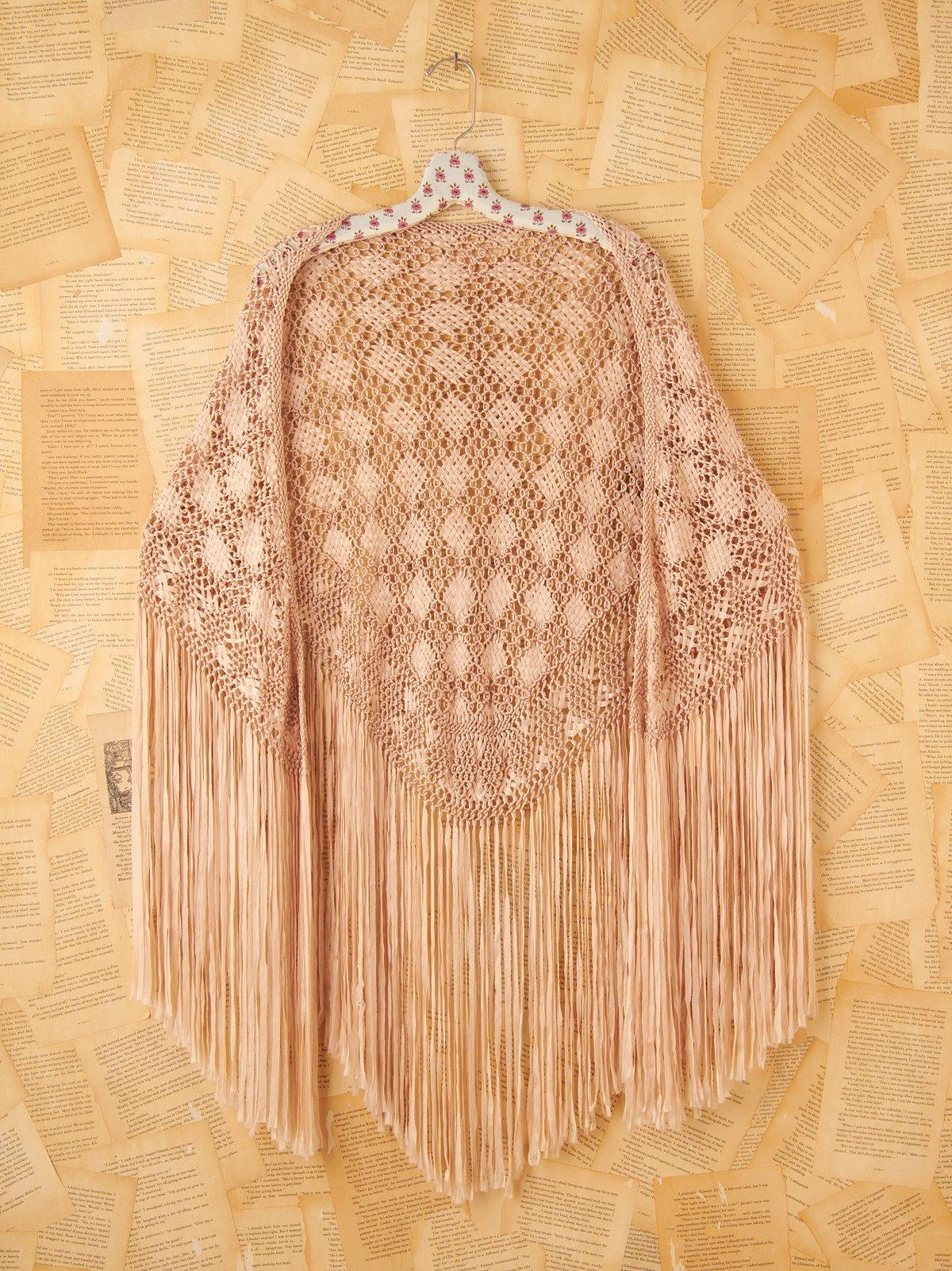 Vintage Ivory Woven Shawl