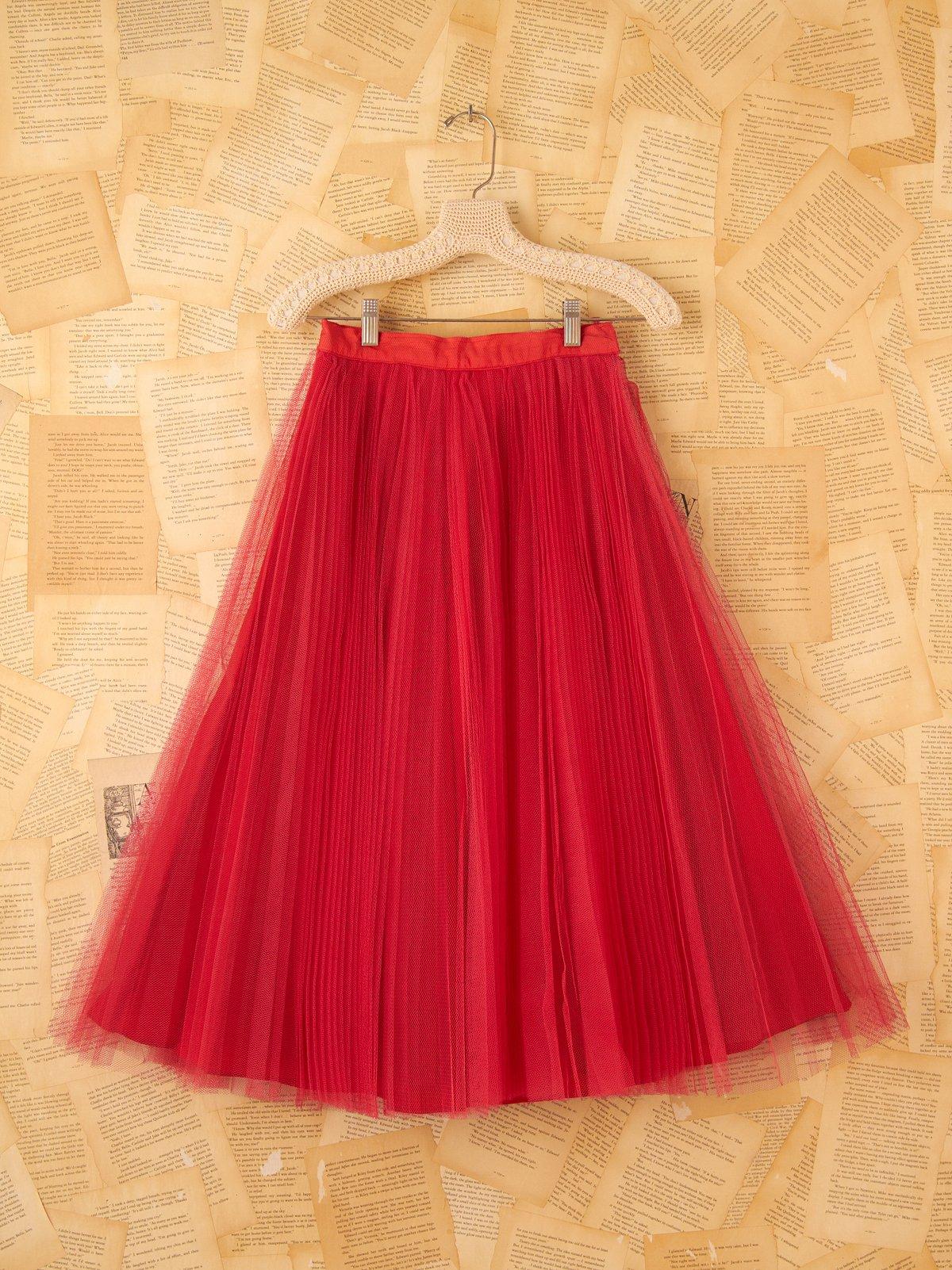 Vintage 1950s High Waisted Red Crinoline Skirt