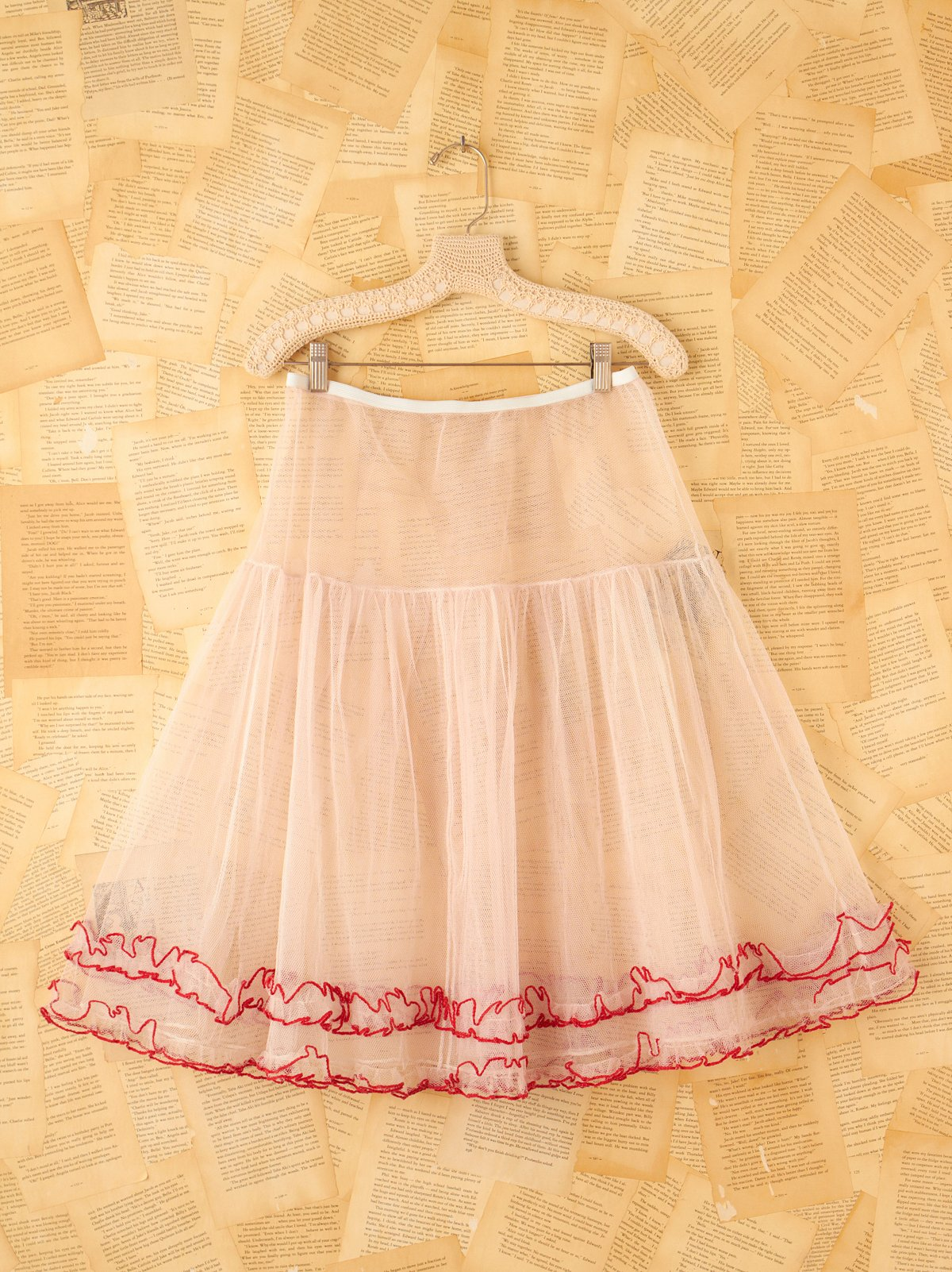 Vintage Pink Crinoline Skirt with Red Trim