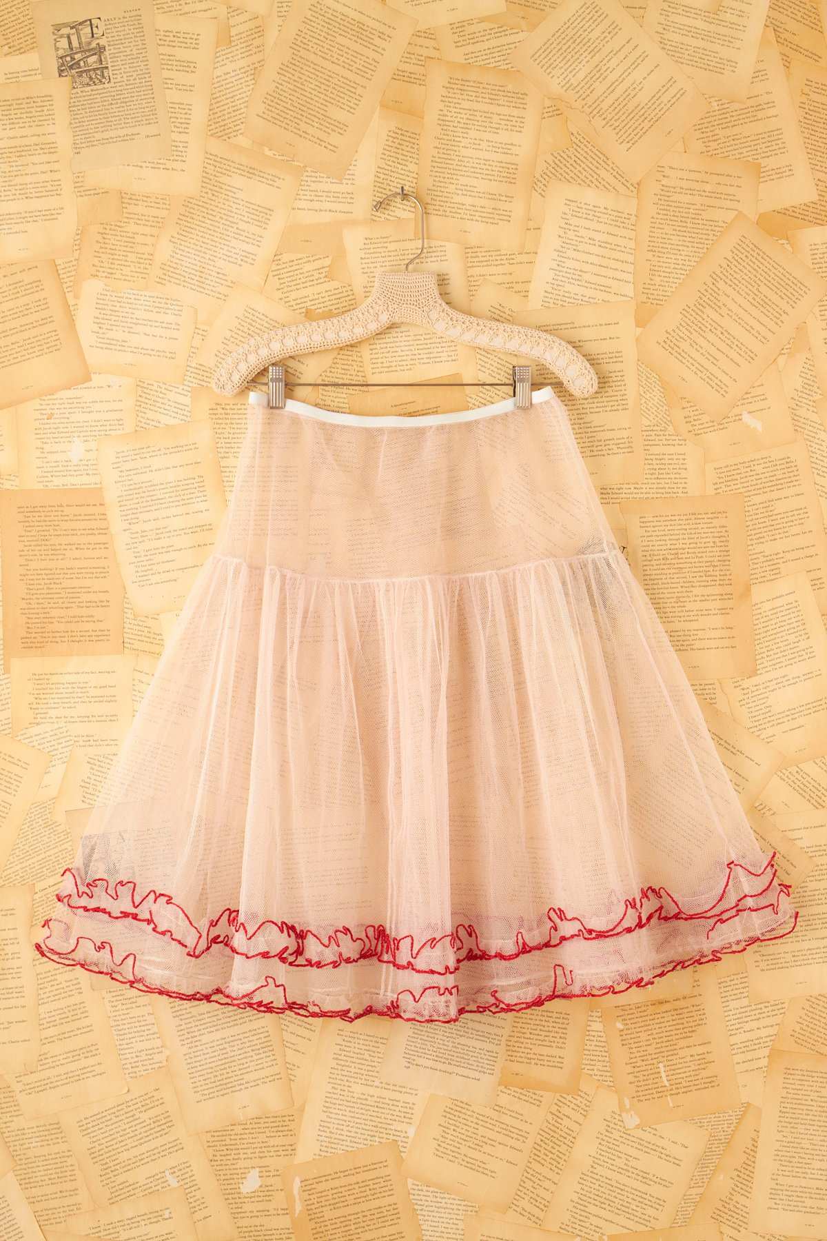 Vintage Pink Crinoline Skirt with Red Trim