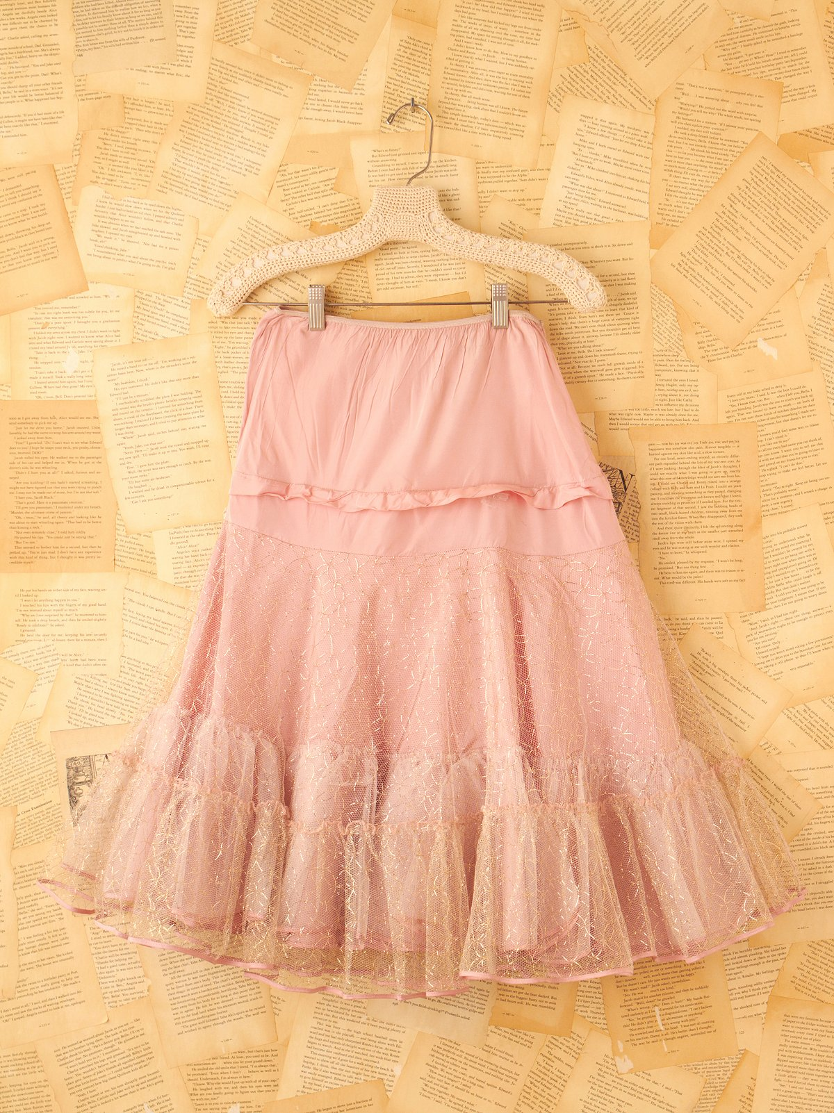 Vintage Pink Crinoline Slip with Gold Thread