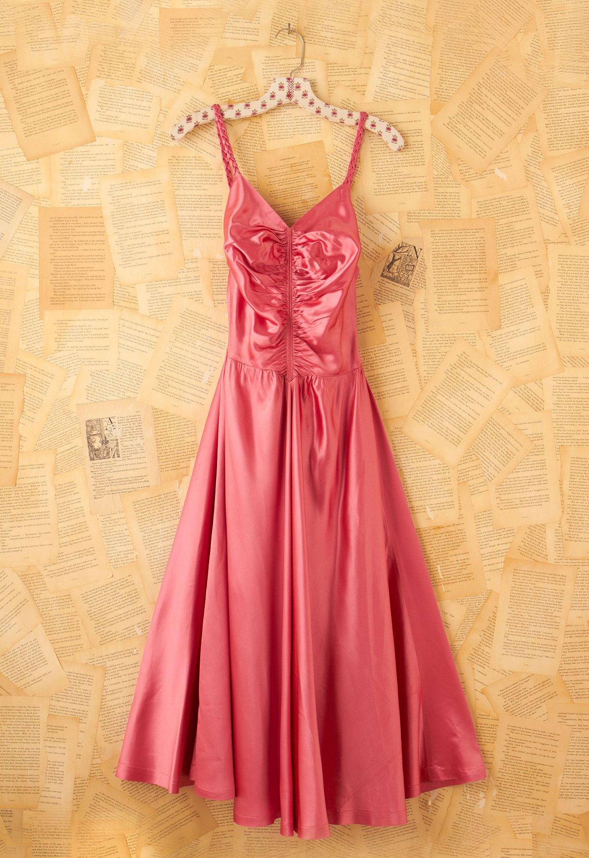 Vintage 1950s Pink Satin Dress
