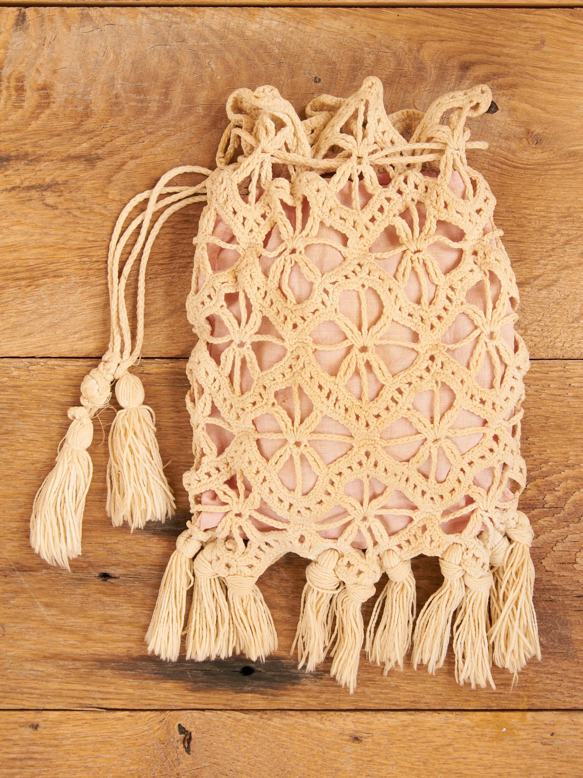 Vintage Crochet Purse with Pink Lining