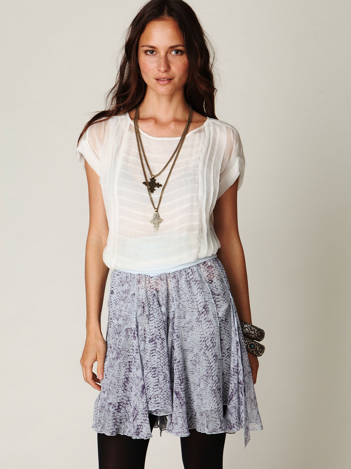 Feathered Wings Printed Chiffon Skirt