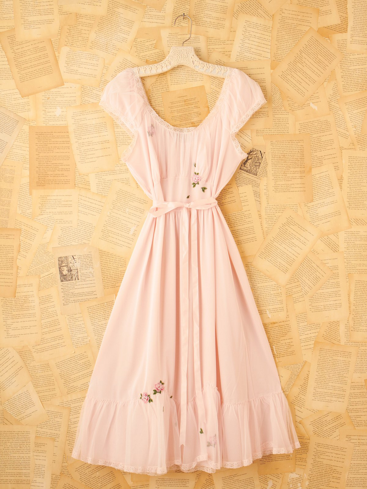 Vintage Pink Slip Dress with Rose Embroidery