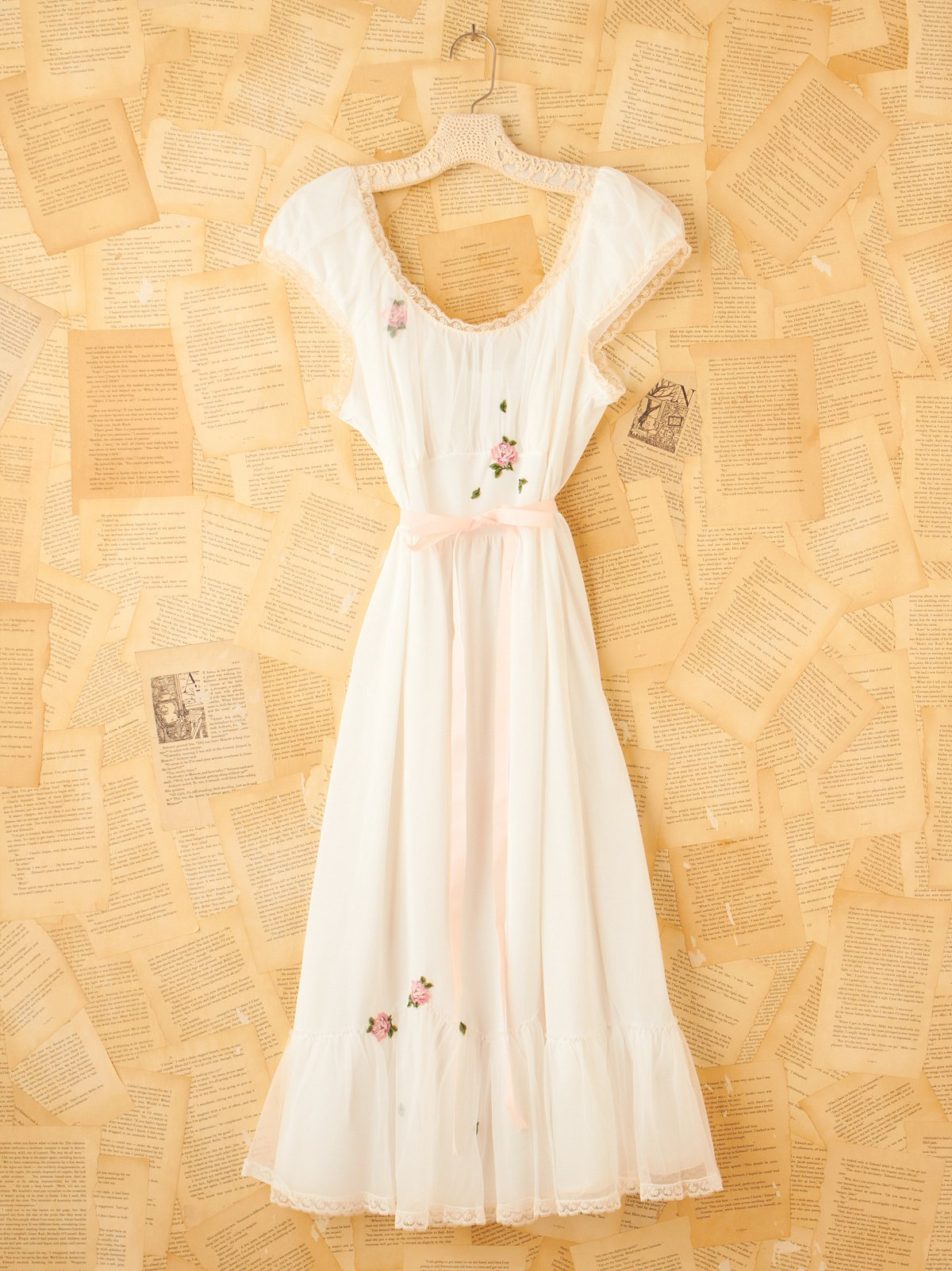 Vintage White Slip Dress with Rose Embroidery
