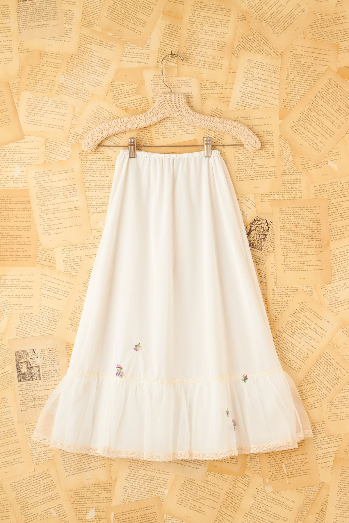 Vintage White Slip Skirt with Rose Embroidery