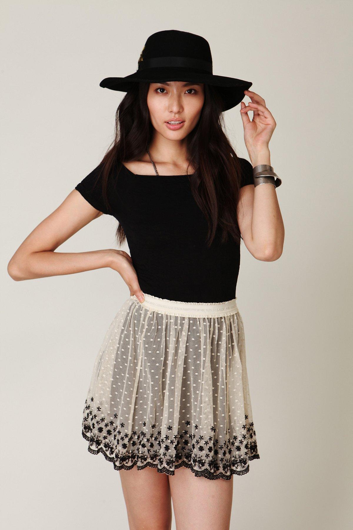 Embroidered Mesh Circle Skirt
