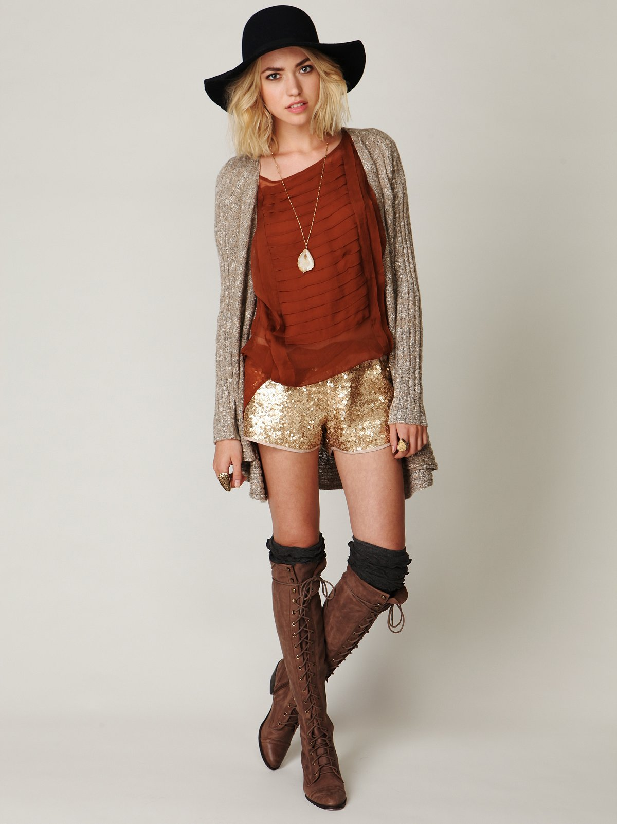 Sequined Track Shorts