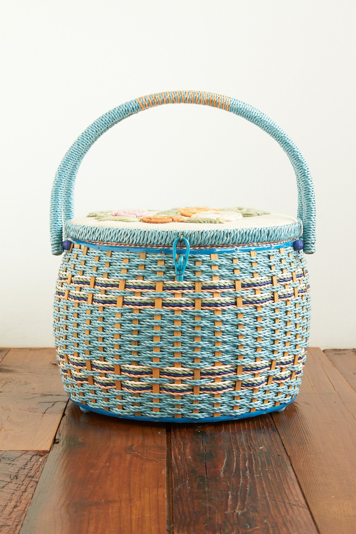 Vintage Woven Basket with Rose Detailing