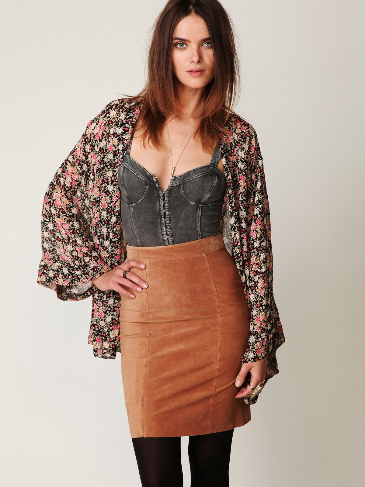 Suede High Waist Pencil Skirt