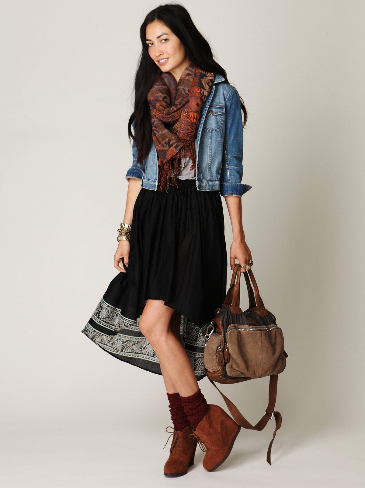 High Low Crinkle Skirt