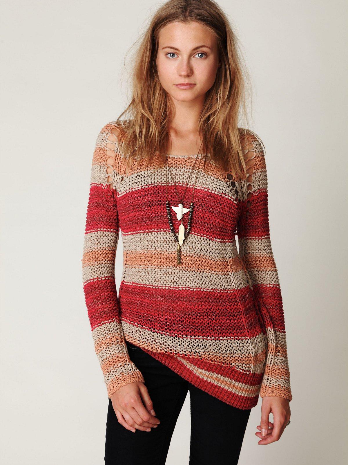 Stripe Tape Yarn Pullover