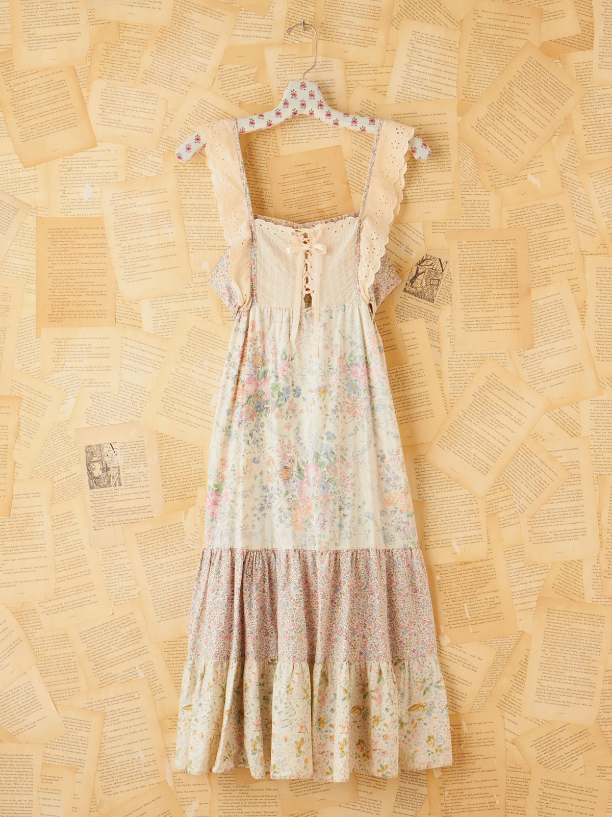 Vintage Printed Tiered Hippie Dress