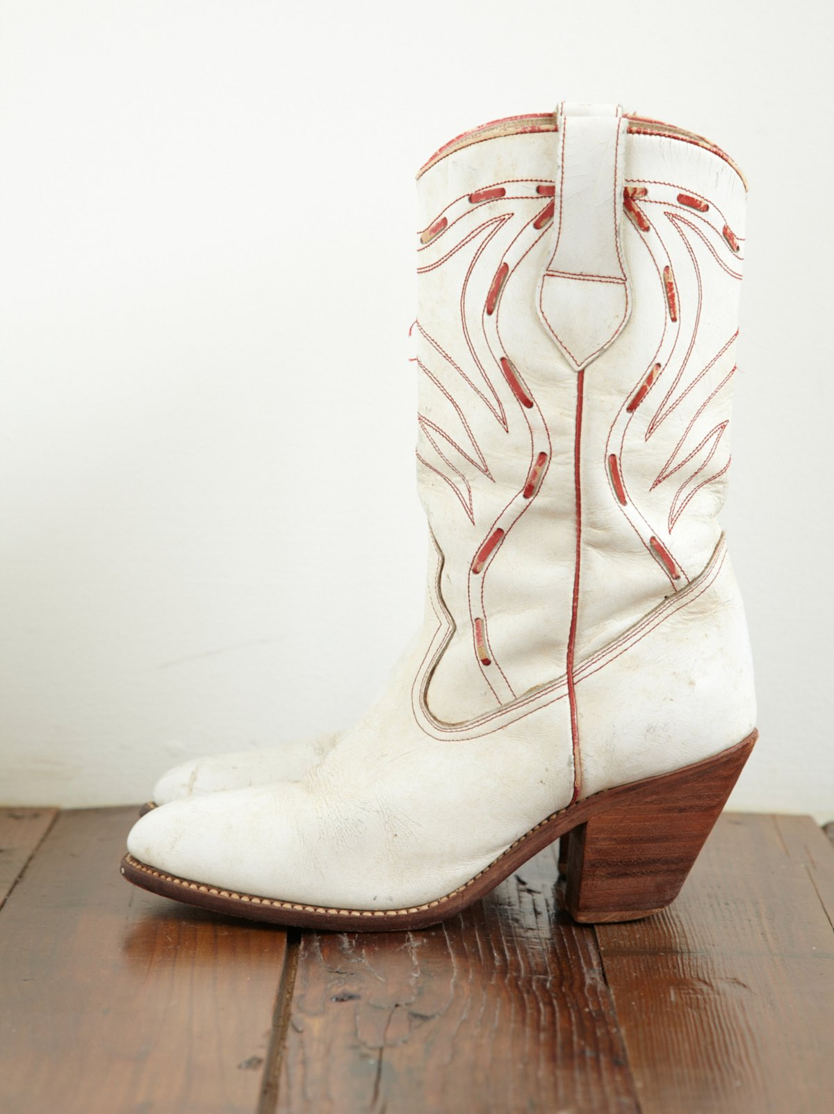 Vintage White Cowboy Boots with Red Detailing