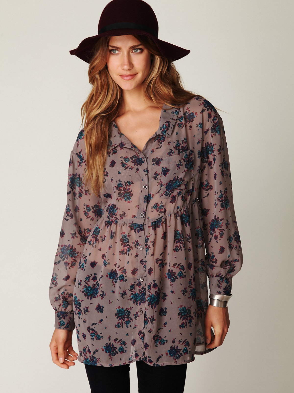 Floral Sheer Button Down Tunic
