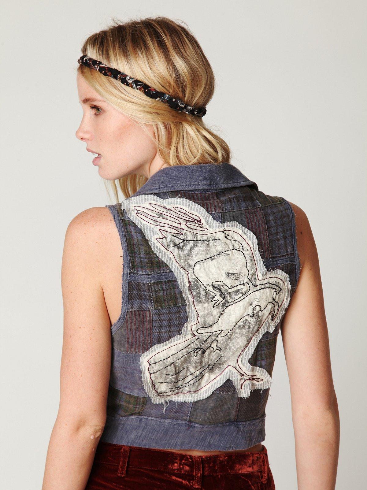 We The Free Applique Raven Vest