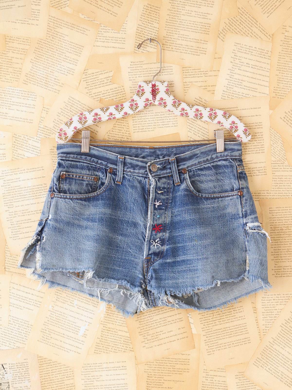 Vintage Denim Patchwork Shorts