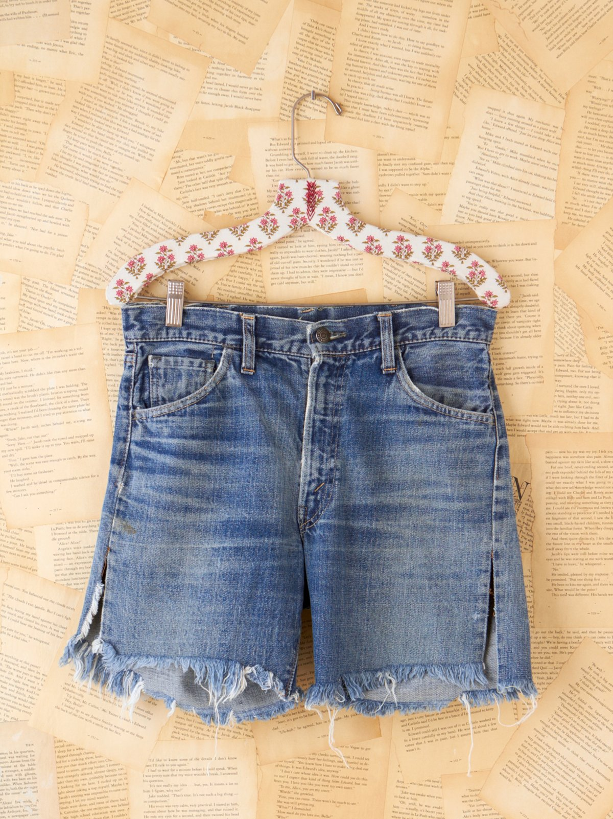 Vintage Big E Indigo Jean Shorts with Patchwork