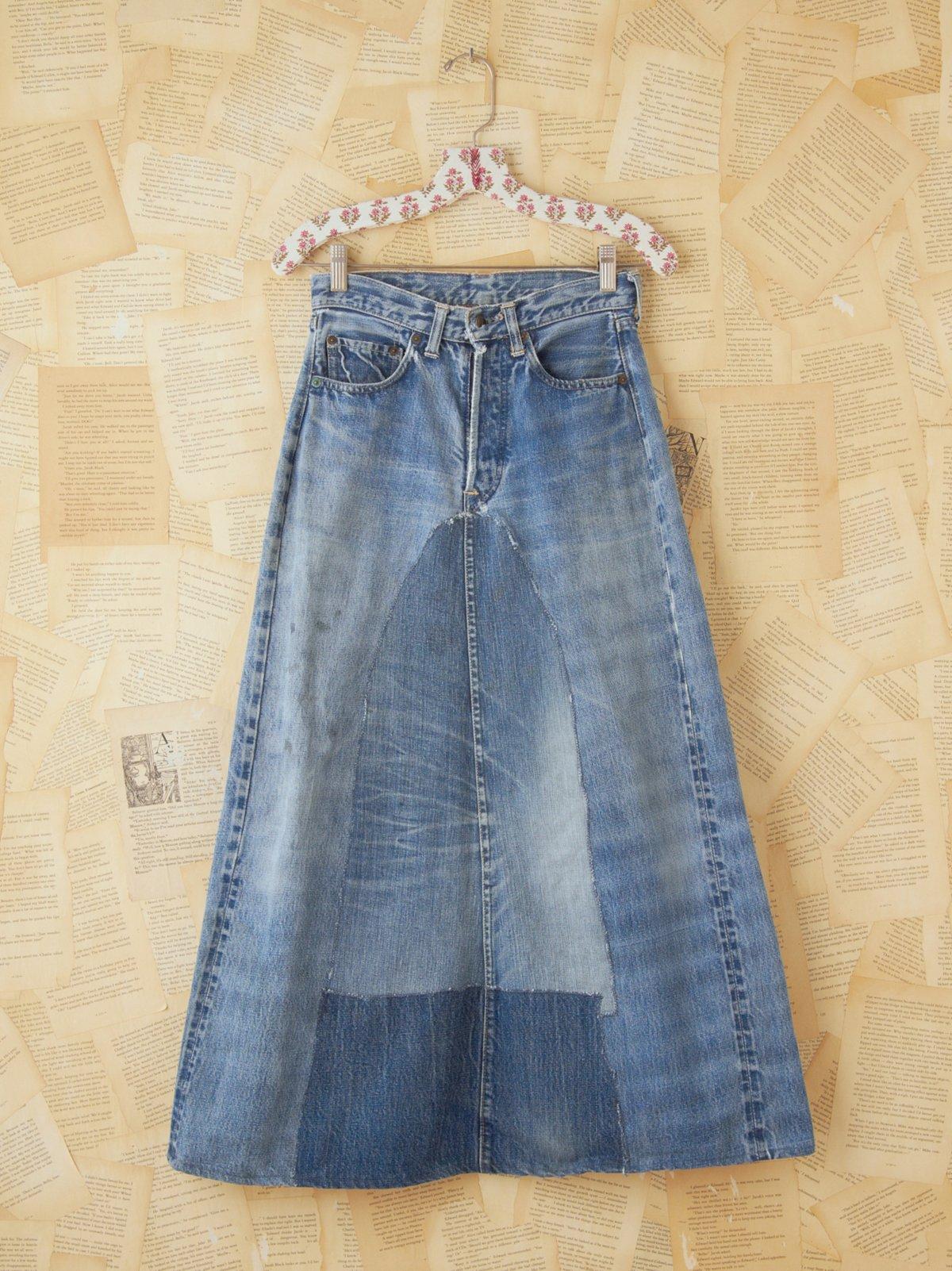 Vintage 1960s Homemade Denim Maxi Skirt