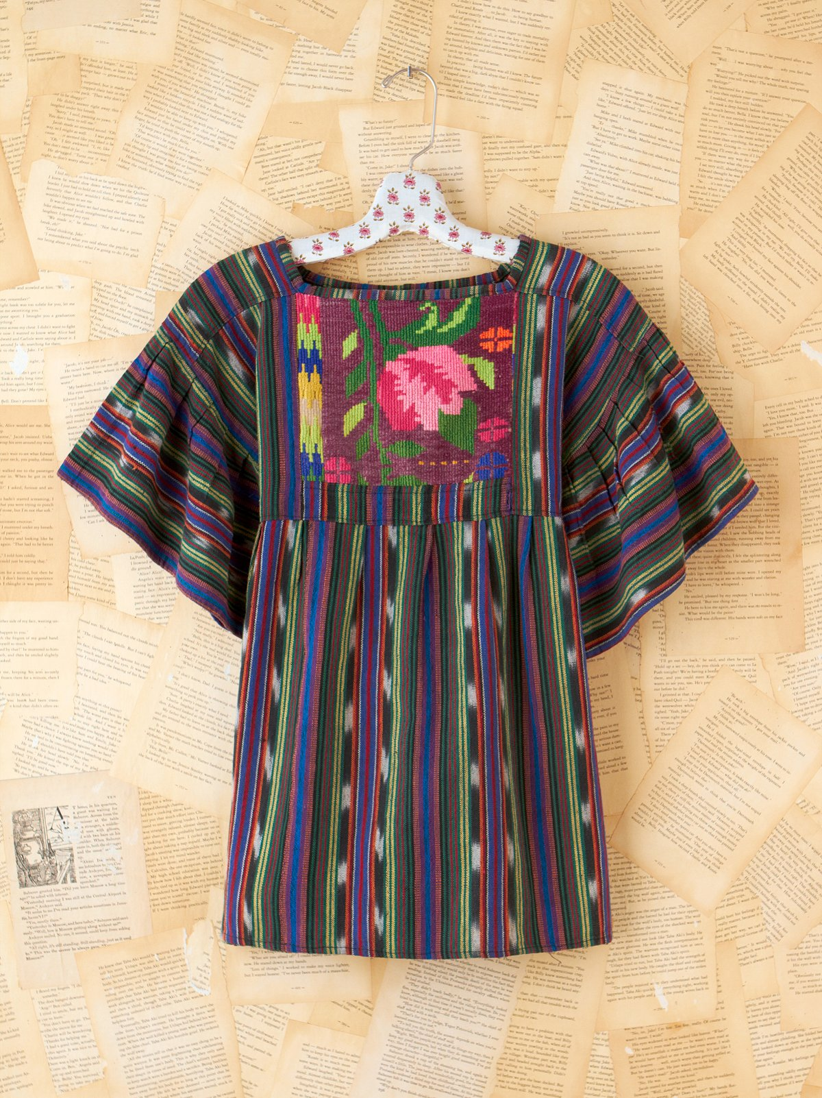 Vintage Stripe Top with Rose Embroidery