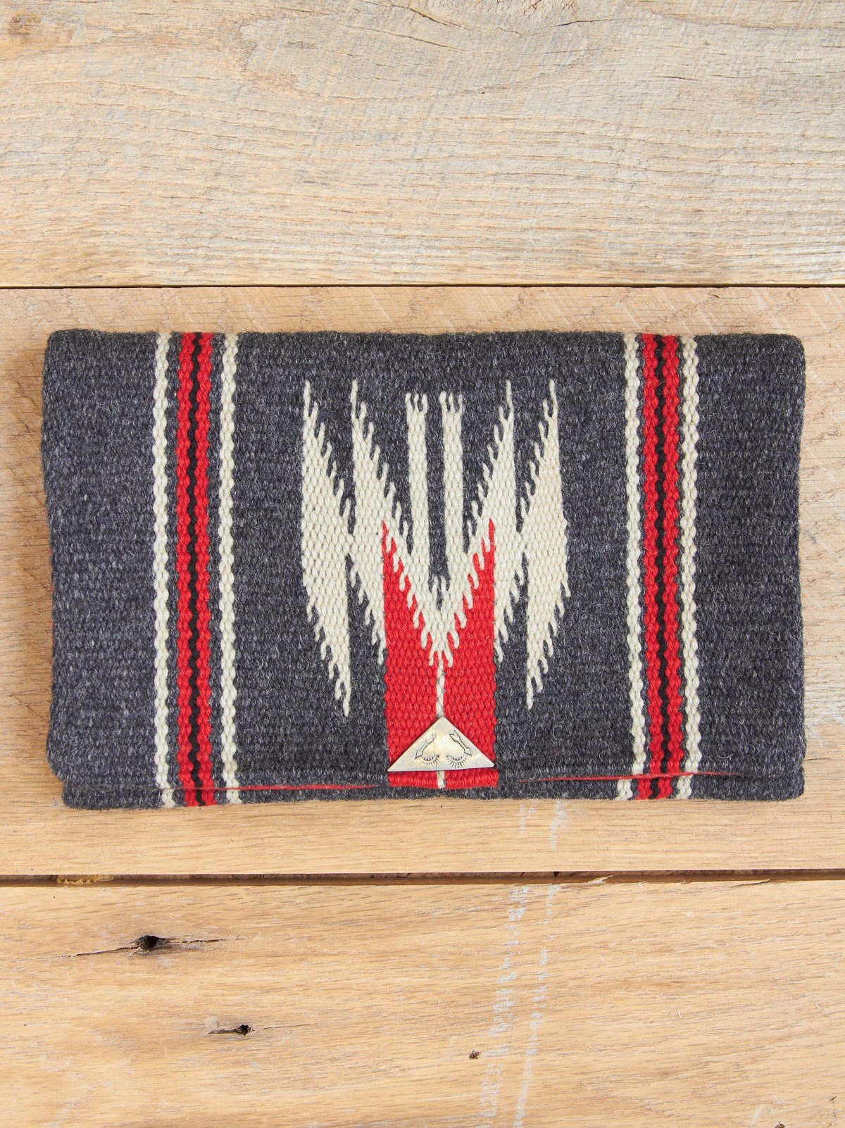 Vintage Grey Wool Chimayo Clutch with Handle