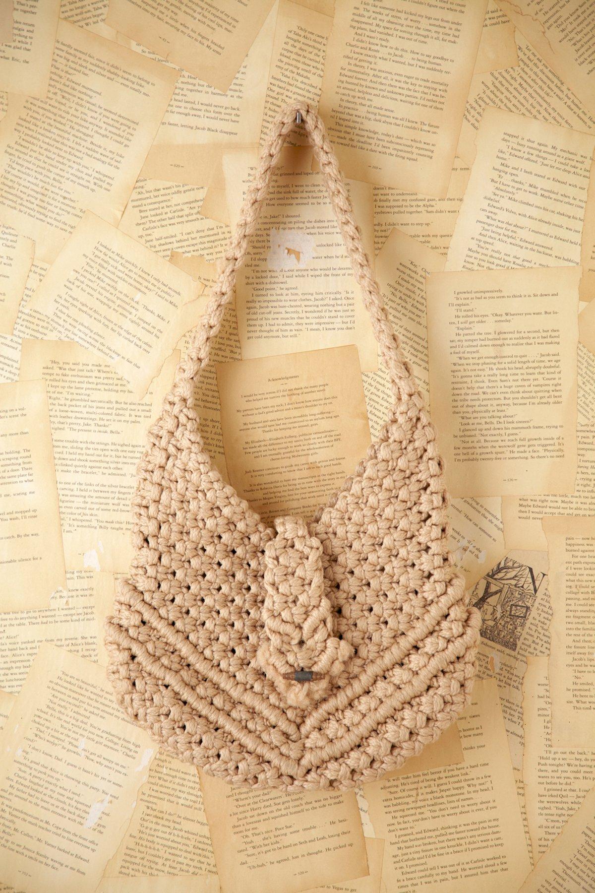 Vintage 1960s Macrame Boho Bag