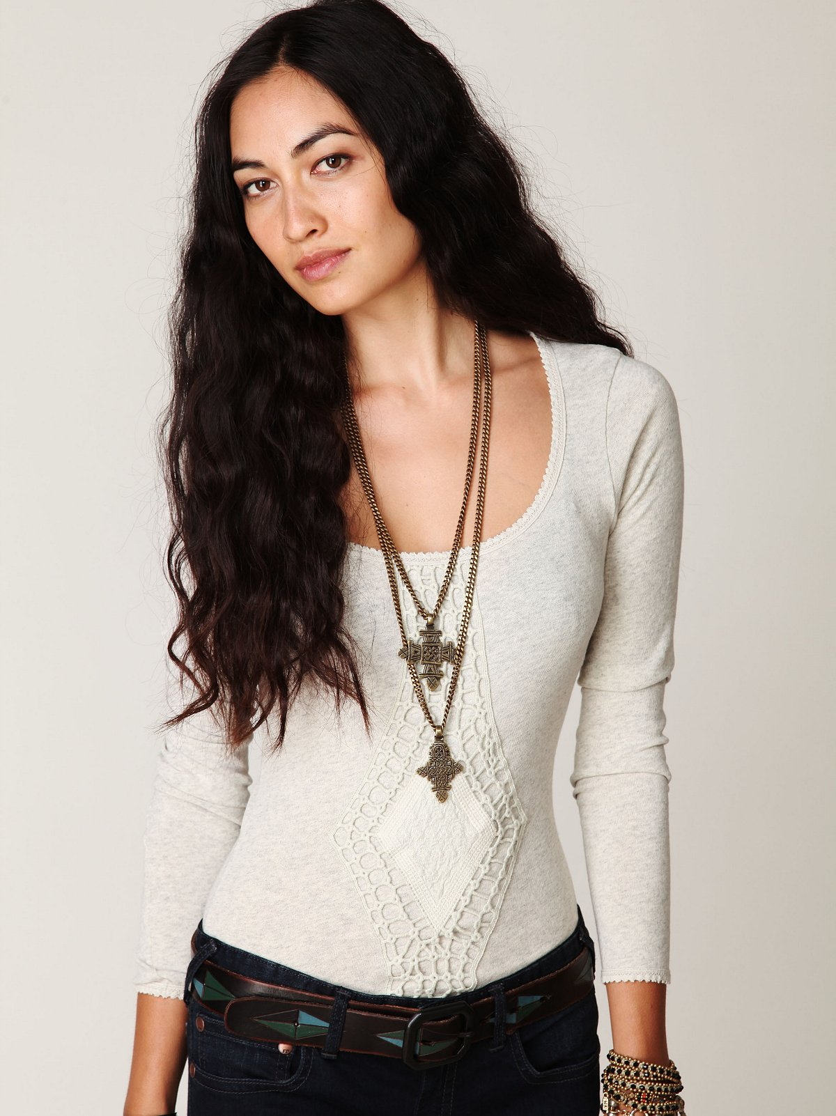 Crochet Applique Long Sleeve Top