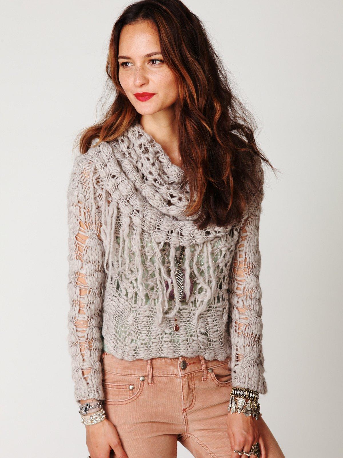 Cowl Neck Fringe Pullover