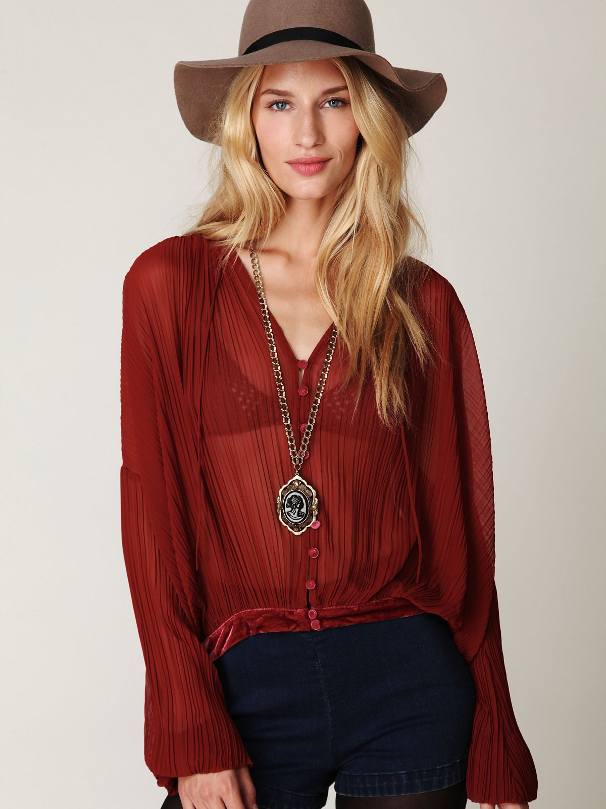 Sheer Velvet Pleated Top