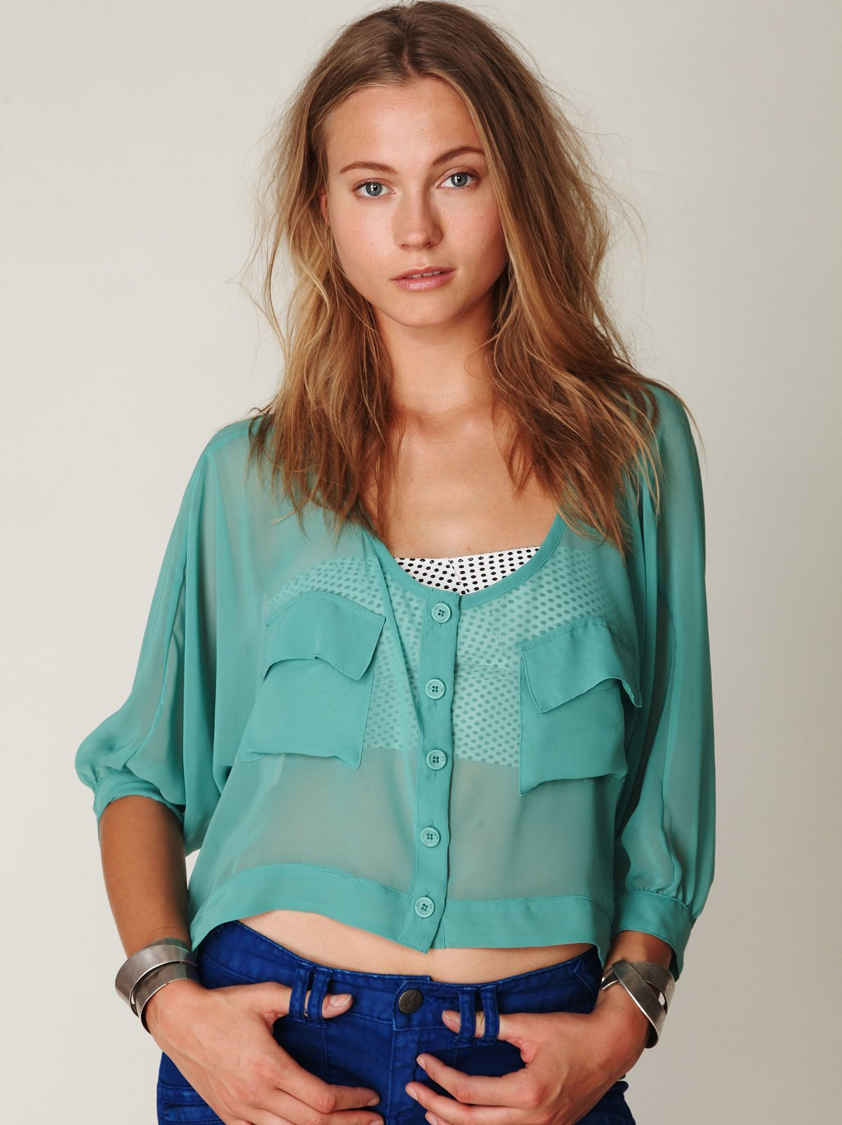2-Pocket Sheer Crop Top