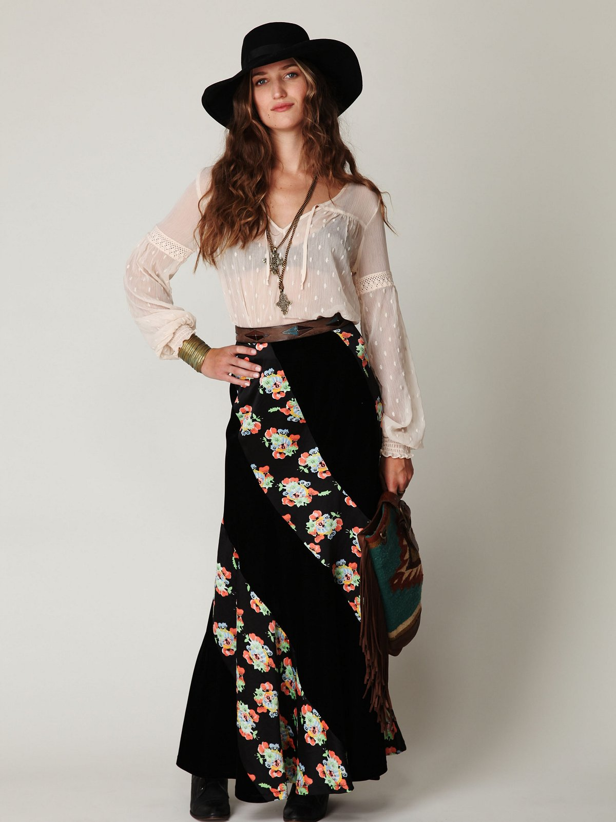 Twisted Velvet Maxi Skirt
