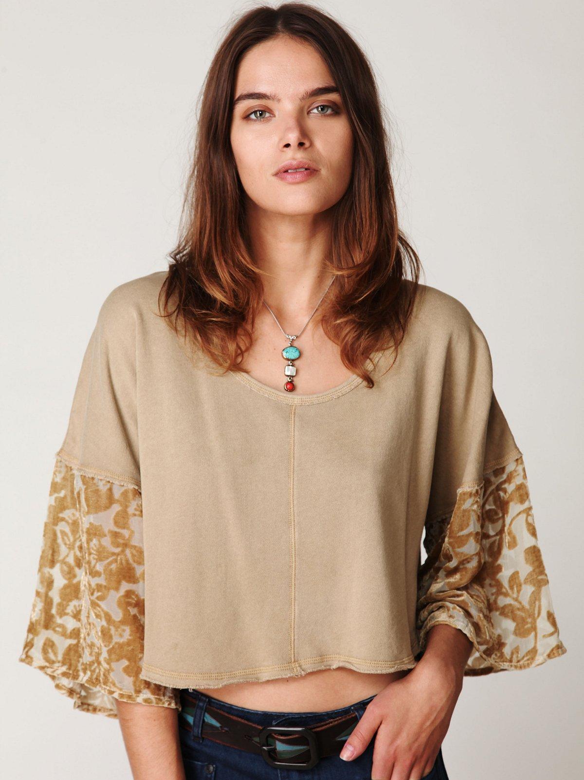 Velvet Burnout Sleeve Pullover