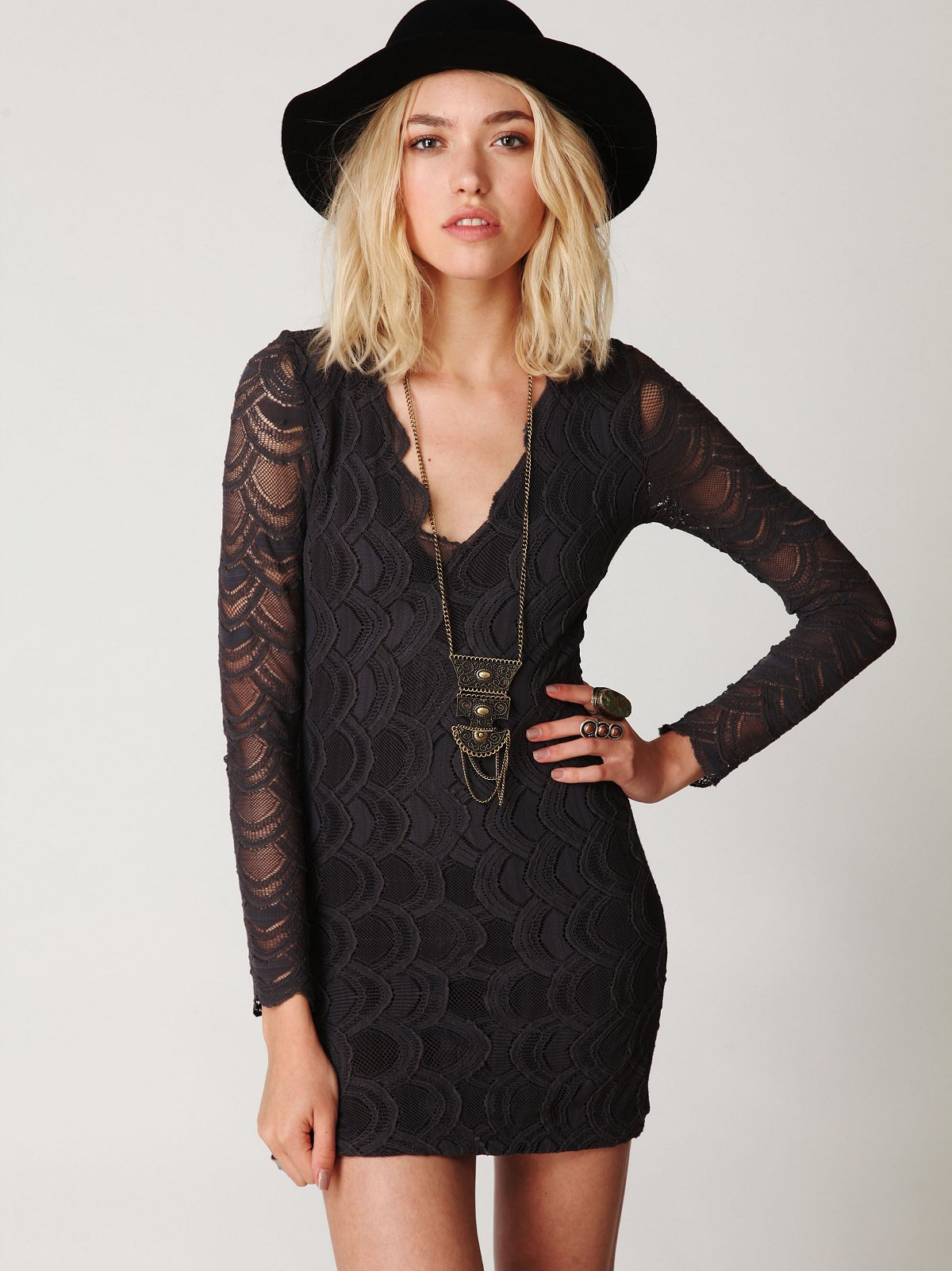 Deep V Long Sleeve Lace Dress