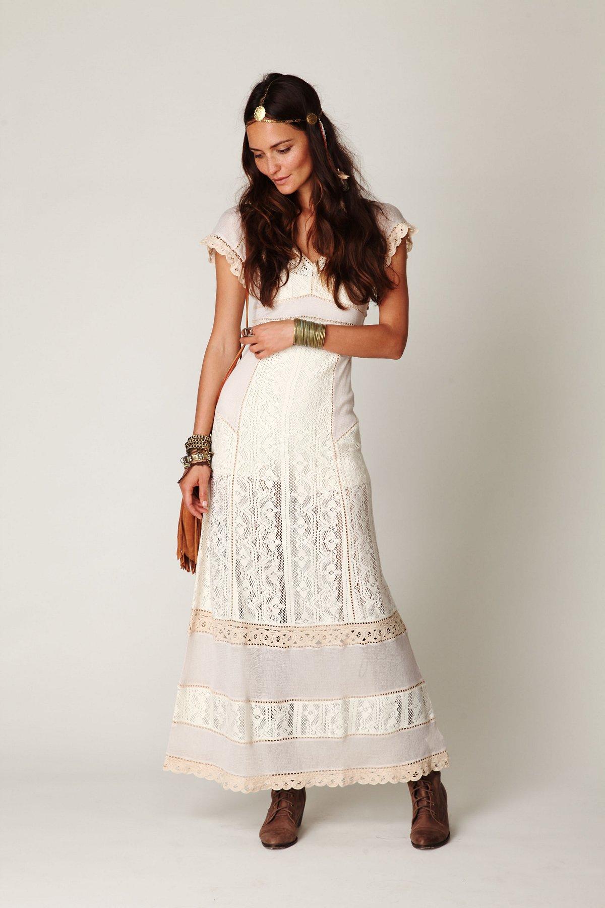 Crochet Short Sleeve Maxi Dress