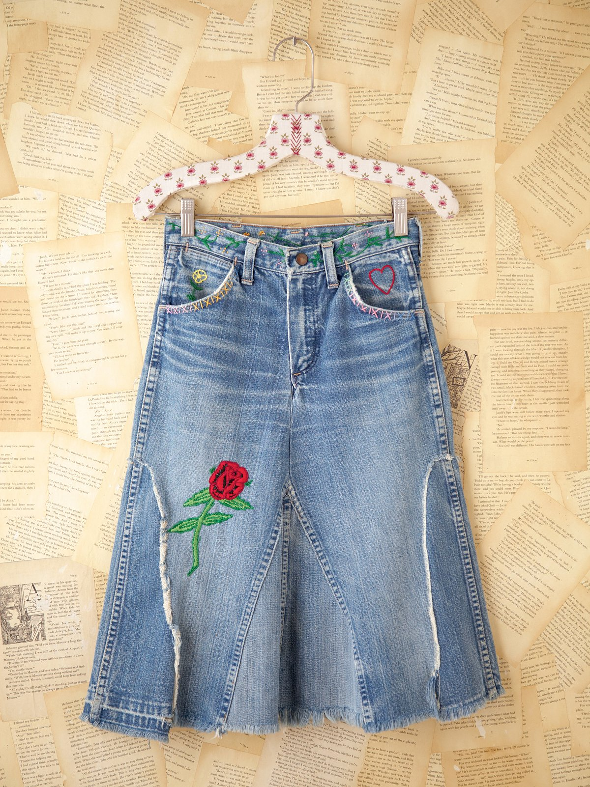 Vintage Denim Skirt with Patches