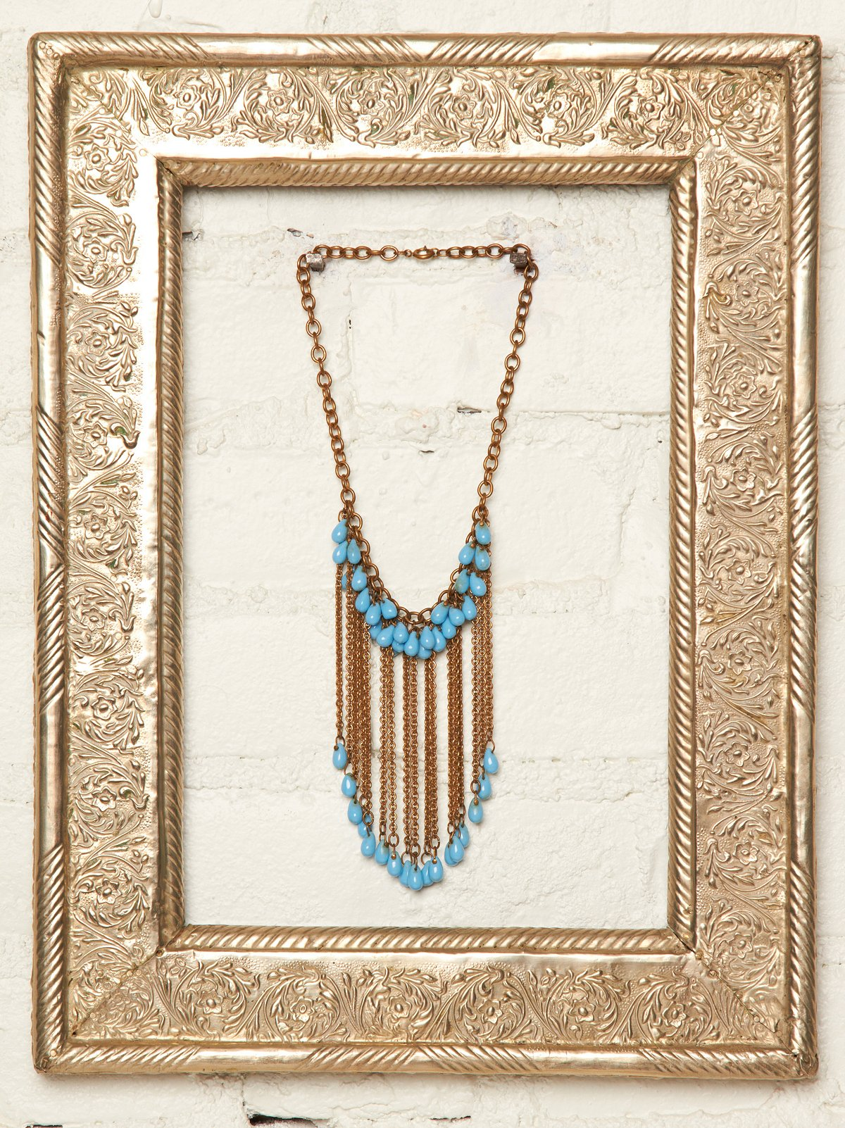 Vintage Chain and Blue Bead Necklace