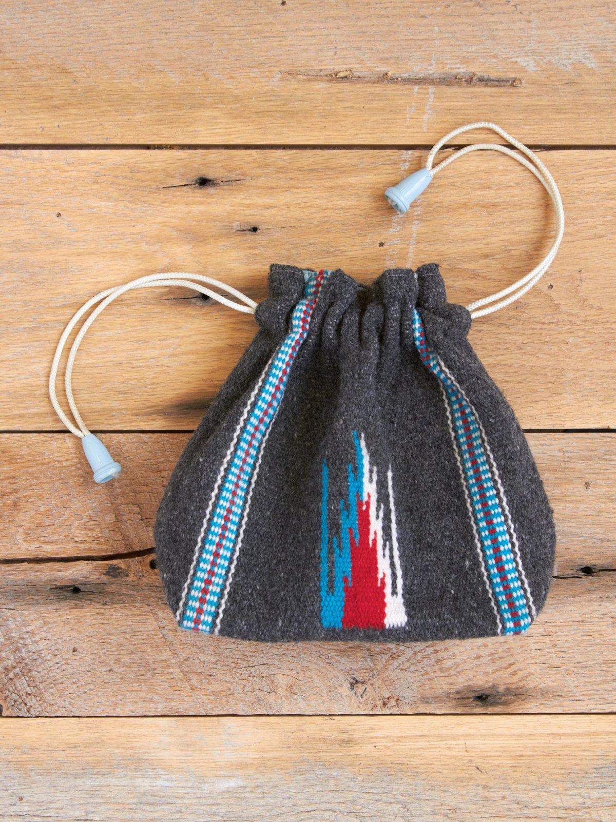 Vintage Handwoven Drawstring Wool Bag