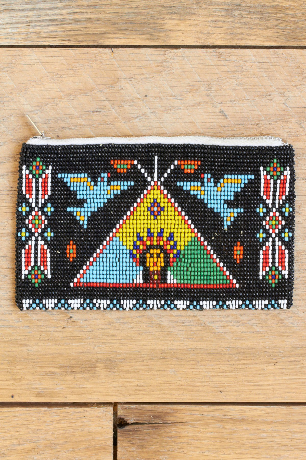 Vintage Natural Beaded Clutch