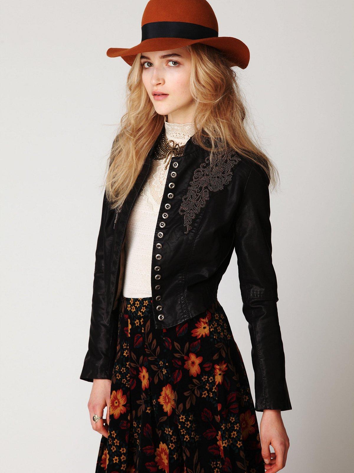 Embellished Vegan Leather Jacket