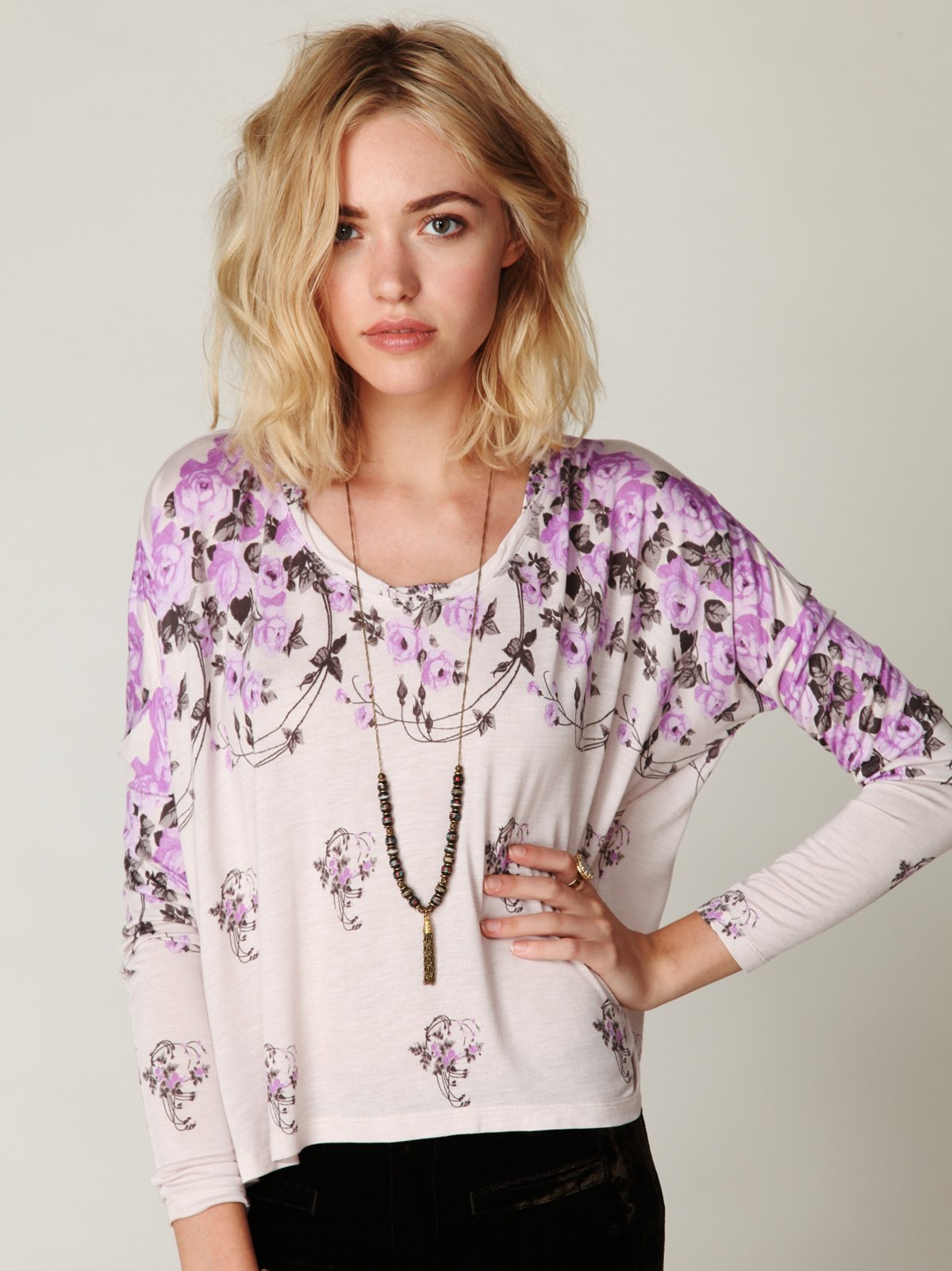 Flora Boxy Long Sleeve Tee