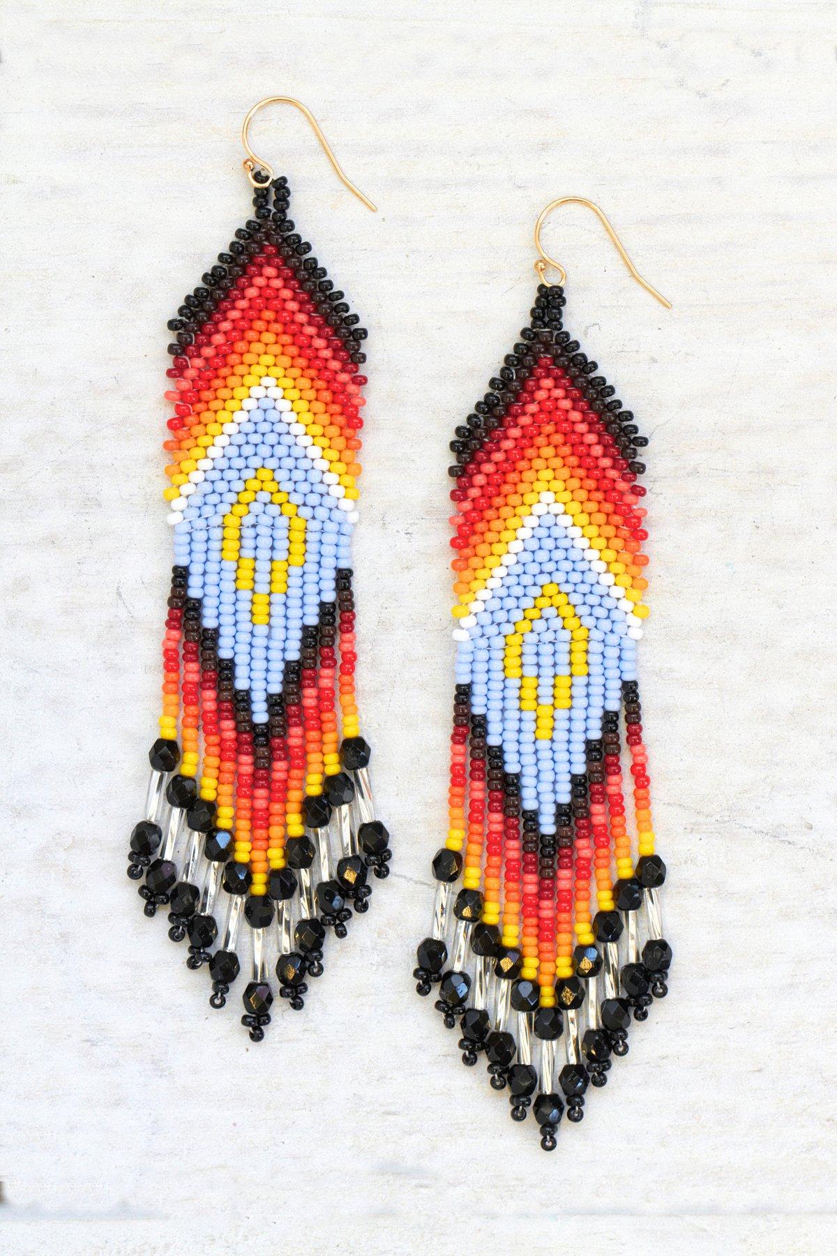 Vintage Rainbow Bead Earrings