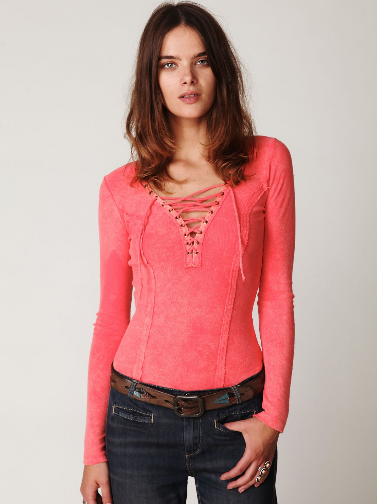 Chilton Lace Up Long Sleeve Top
