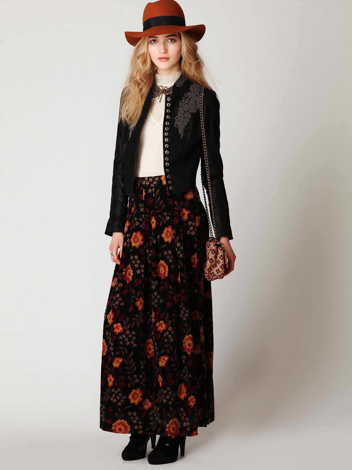 Printed Cord Maxi Skirt