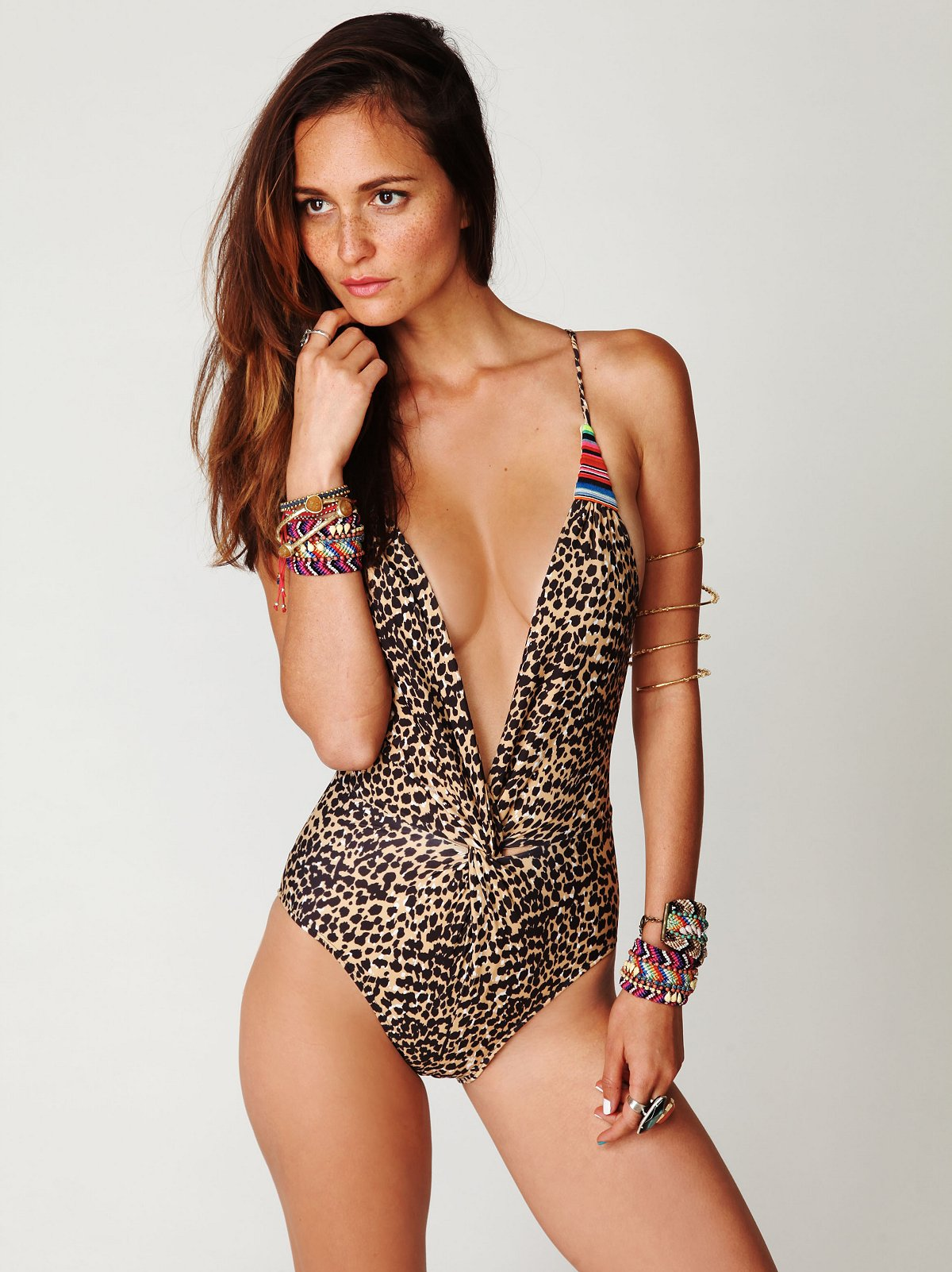 Embroidered Twist Cheetah Onepiece