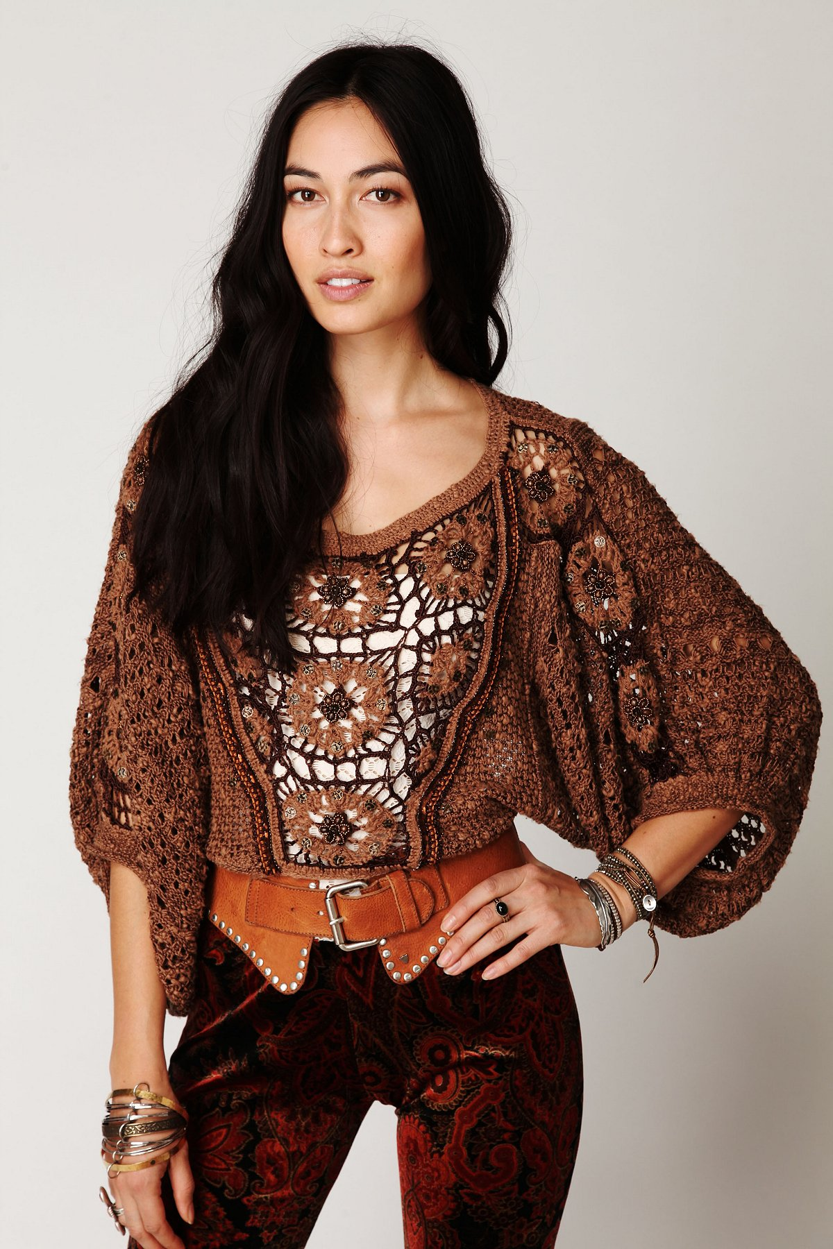 Embellished Bubble Sleeve Pullover