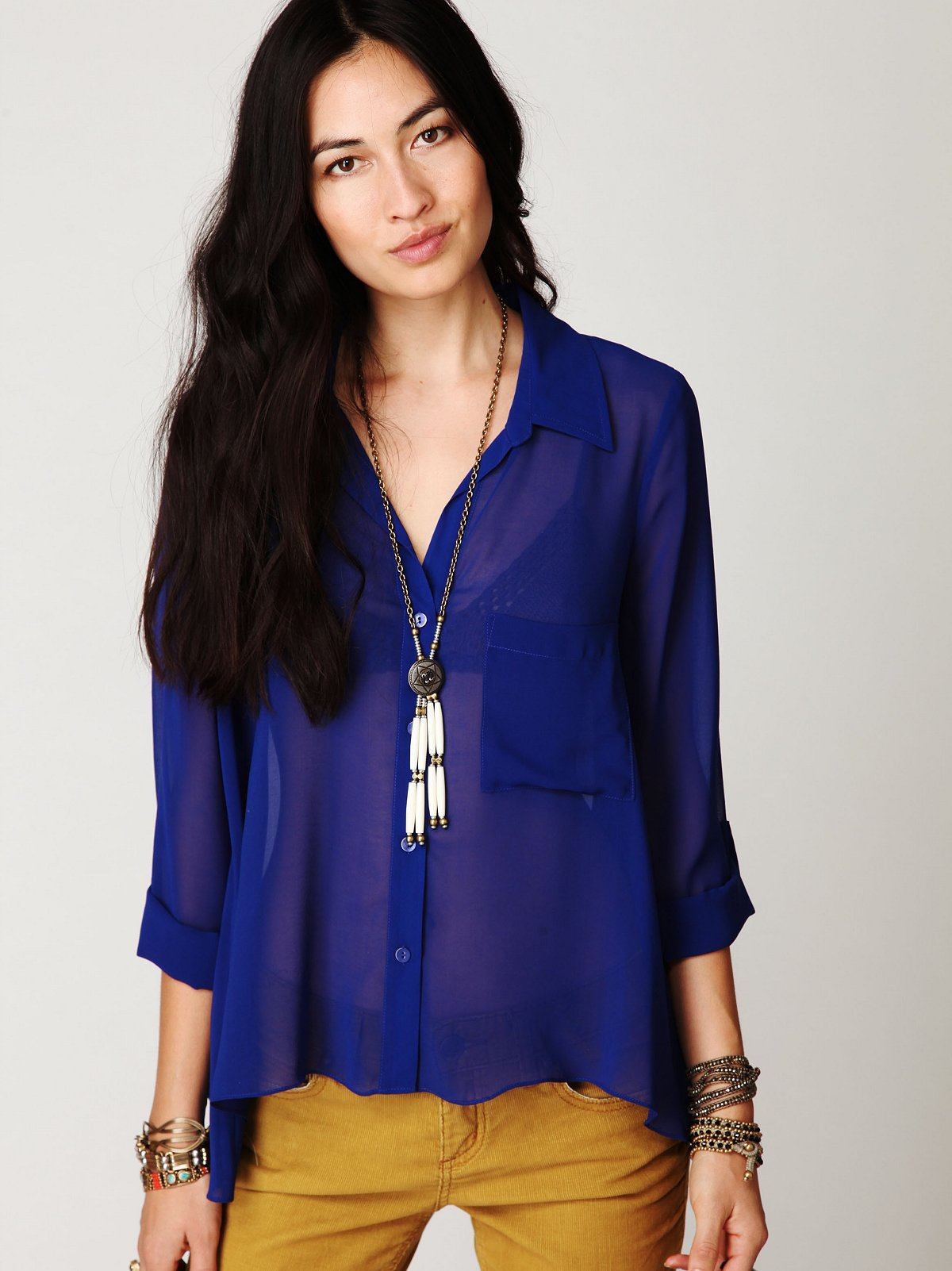 Sheer Buttondown Tab Shirt