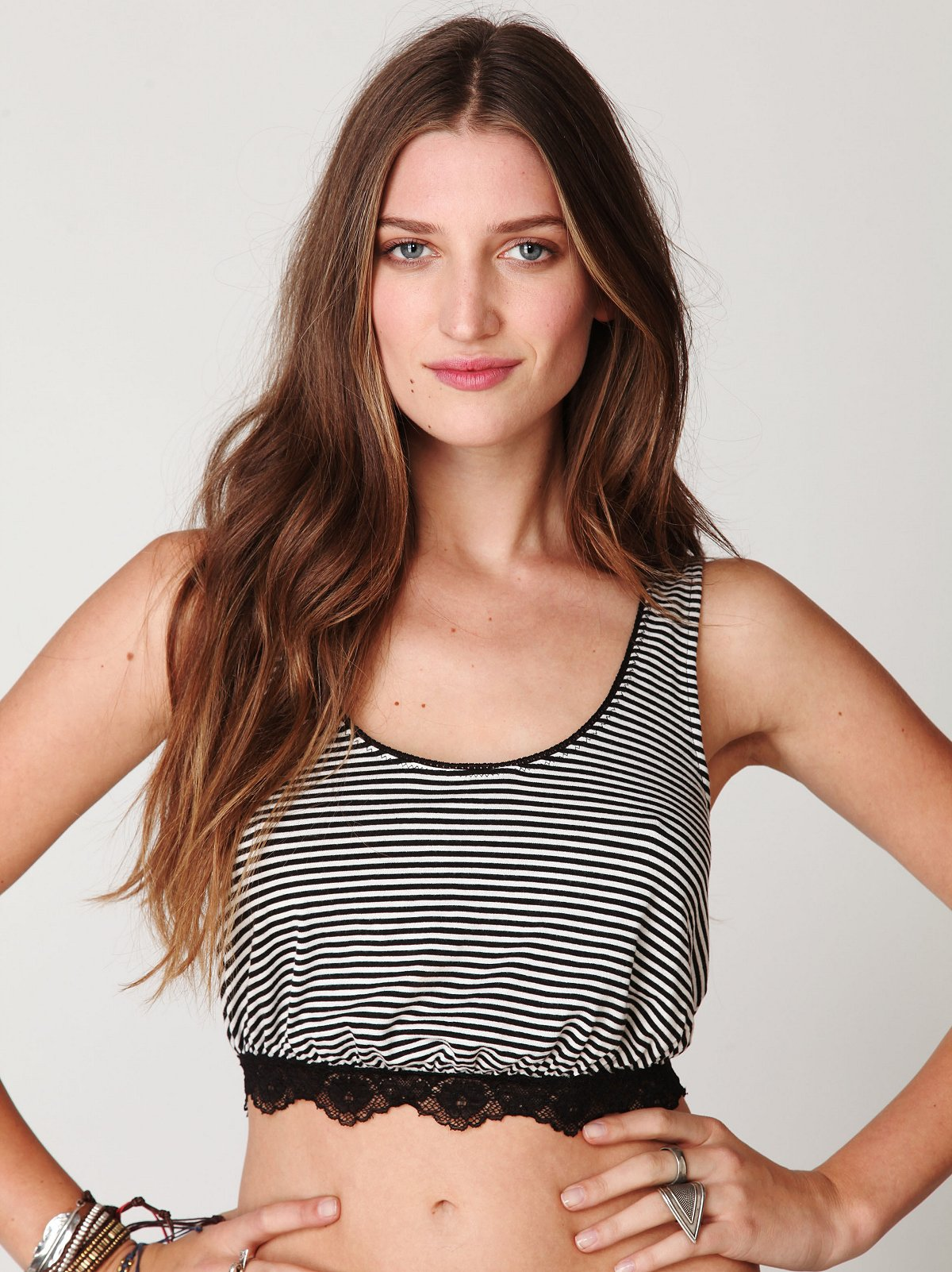 Sleeveless Cropped Stripe Top