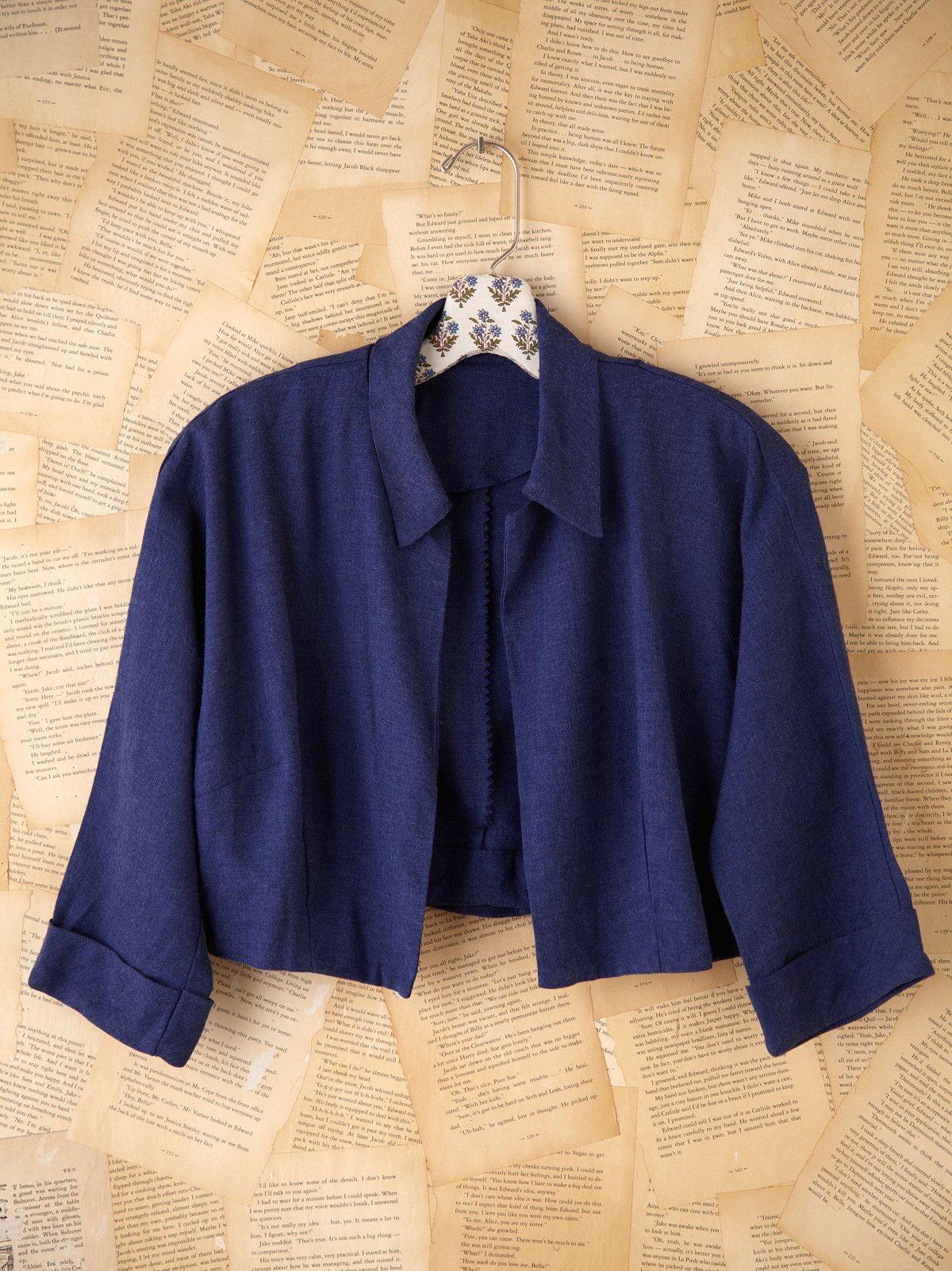 Vintage Cropped Blue Wool Denim Jacket